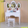 Wood makeup vanity table set with 3 mirror ,7 drawer, 1 stool