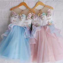 2018 Baby Girls Unicorn Horse Floral Princess Tutu Unicorn Mesh Lace Tutu Dress