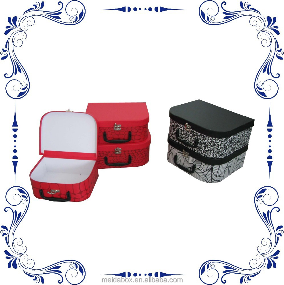 Paper Cardboard Kids Suitcases with Plastic Handle