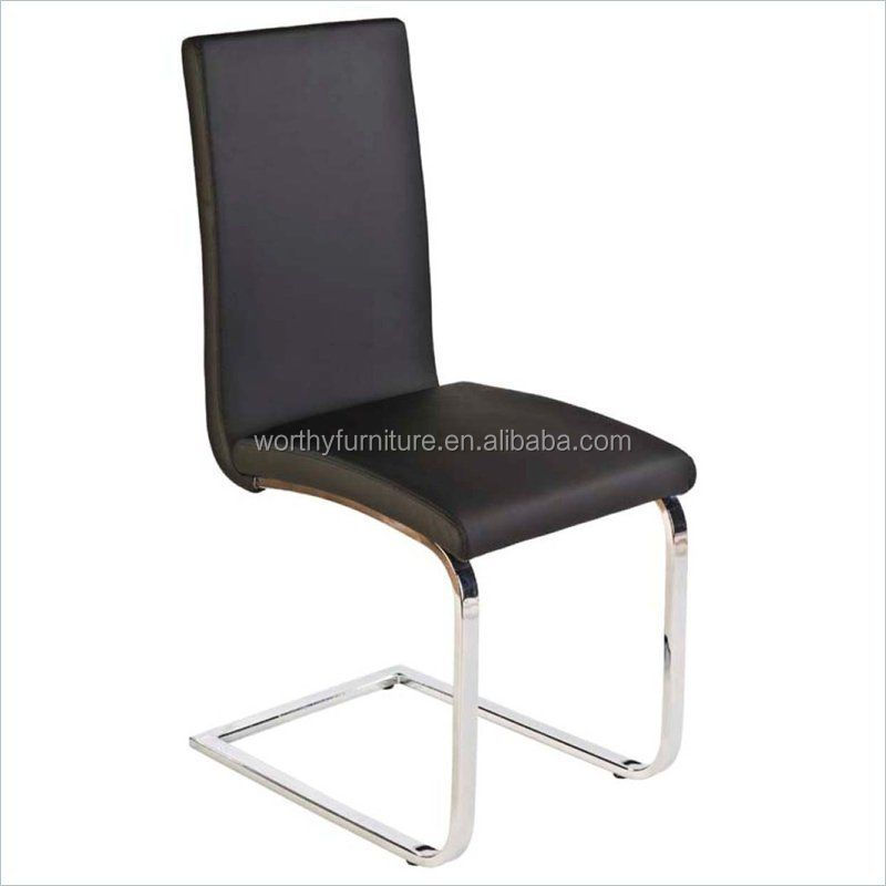 X2056 Modern Black PU L Shape Backrest Bow Shape Chrome Steel Dining Chair