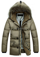 Russian Style New Design Men Winter Outdoor Down Jacket With Fur Collar