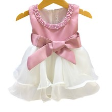 2017 Designer One Piece Baby Frock Pink Beaded 2 Year Old Girls Prom Party Dress L1829XZ