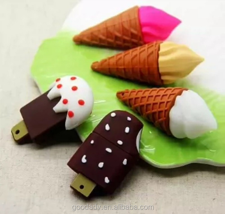 2016 promotional gifts ice cream shape PVC flash memory usb