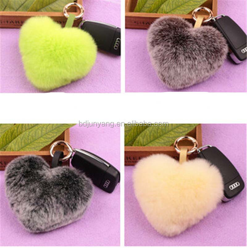 10cm real rex rabbit fur heart shaped keychain bag charm