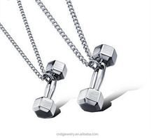 Fashion jewelry spare parts dumbbell couple pendant men and women Korean couples necklace pair
