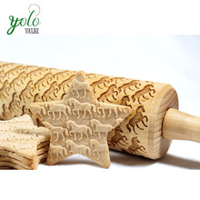 eco-friendly bamboo wooden rolling pin with engraved horse pattern