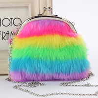 Colorful striped hair ball key chain double use ladies plush purse small bag pendant