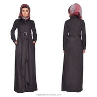 china OEM high quality belted muslim hijab long sleeve women maxi dress abaya