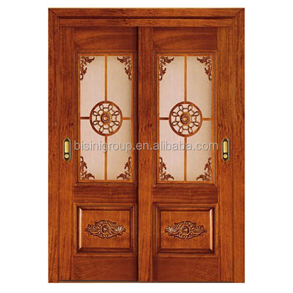 Elegant Internal Sliding Carved Wood Double Door with Glass Inserted BF11-0516b