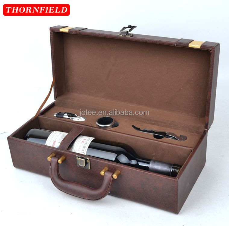 Leather Single Bottle Wine Carrier Box