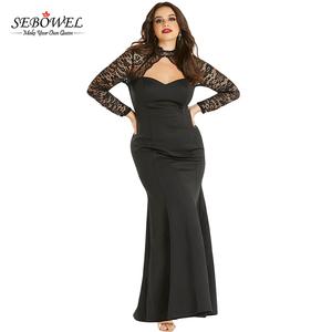 5db6678c8bb 2018 Elegant Black Sheer Lace Long Sleeve Plus Size Party Dress