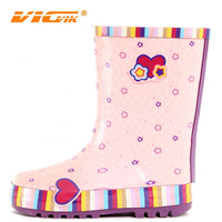 Pink flowers nice cheap kids rubber rain boots manufacture