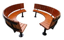 Public leisure garden tree soild wood outdoor curved benches