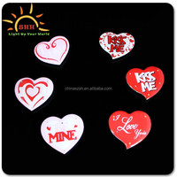 Fashionable LOVE shape valentine day gifts flashing led badges with metal safety pin