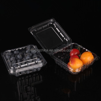 transparent trays of 125g and the lids to pack blueberries with holes that can be ventilated