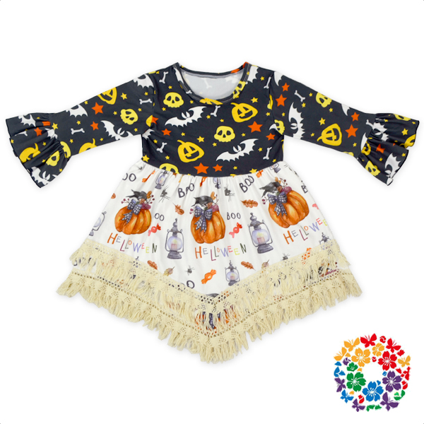 tassel long sleeve halloween pumpkin ghost print frocks designs children dresses 2017