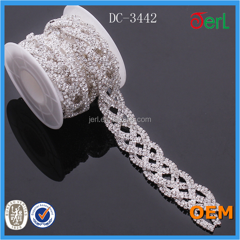 Hot Sale Crystal Rhinestone Trimming Chain with Lacy for Jewelry Components in Bulk