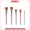 2017 PRO 5PCS Fashional modern Diamond type cosmetic makeup rainbow with custom label unicorn brush set
