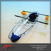Plastic clear rowing boat with PC material by vacuum forming