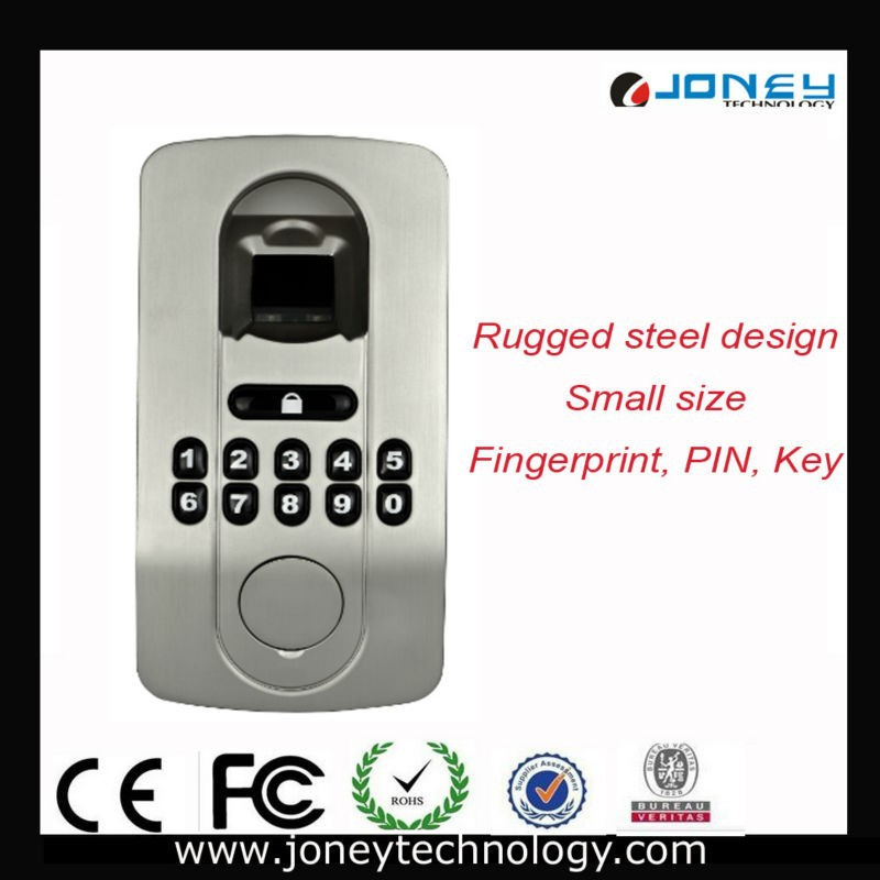 Easy to Install with No Wiring Required Small Biometric steel keypad Fingerprint digital door Lock without handle