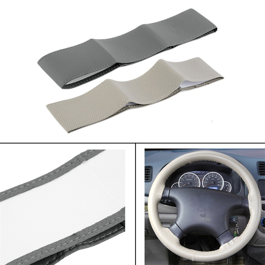 Gray Beige Brown DIY Genuine Leather Cowhide Car Steering Wheel Cover With Needles and Thread