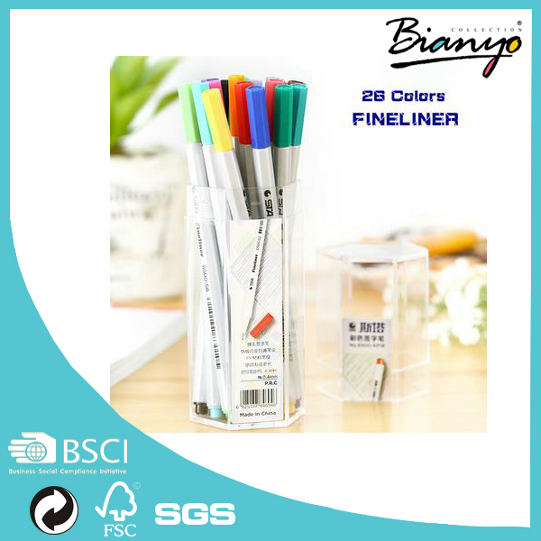 HOT SELL Brightcolor wholesale 12 18 26color packs fineliner marker pen fine point water-based ink