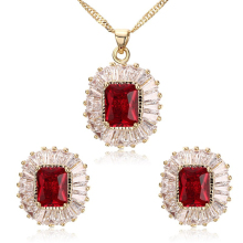 SJSBS-002 Fashion Copper 18K Gold Plated Necklace and Earring Colorful Red or Blue Main Stone Dubai Bridal Wedding Jewelry Set