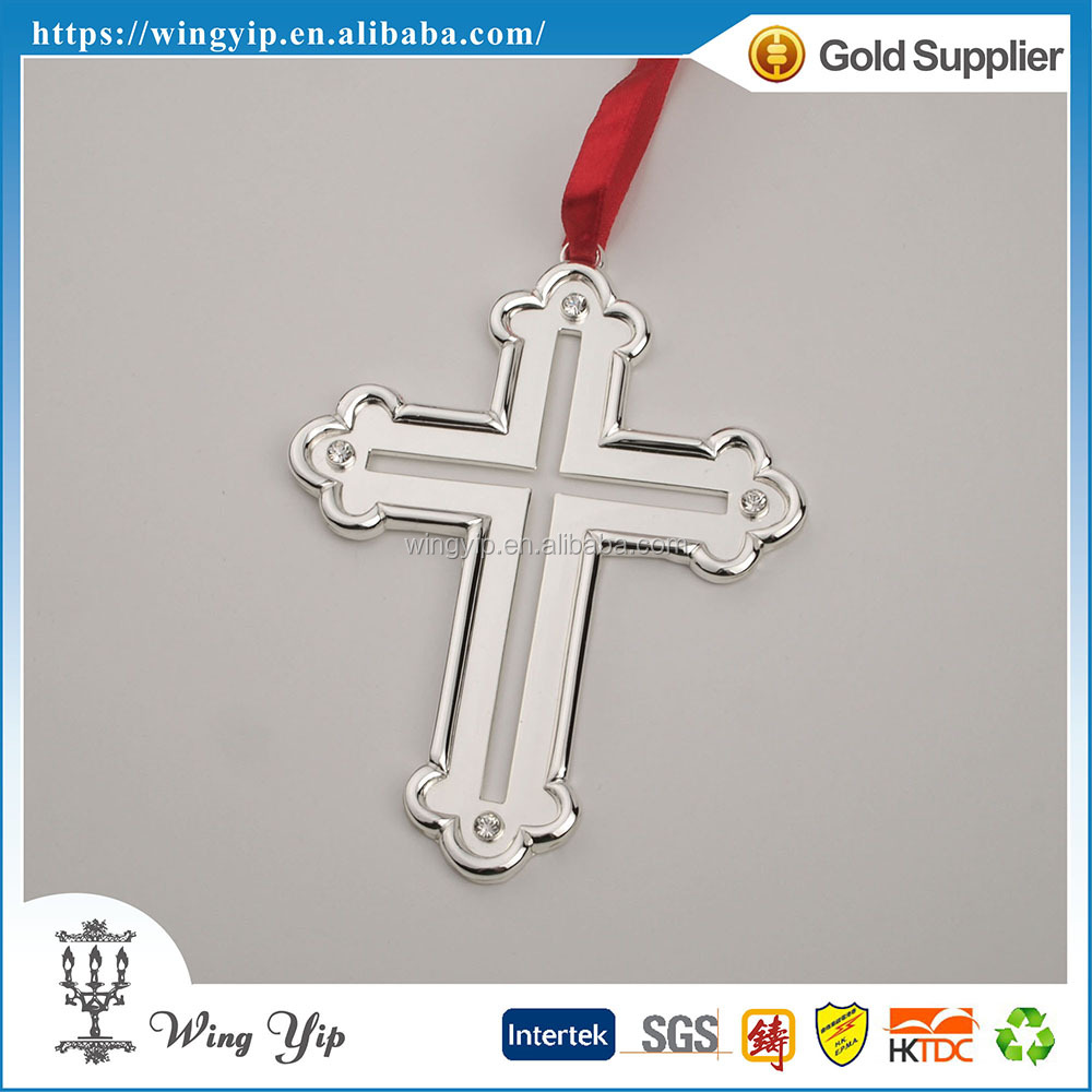 Manufacturer good quality Cross with Crystals Zinc alloy metal Hanging Ornament for Ornament