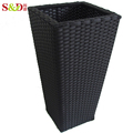 Eco-friendly handwoven durable square plastic planter pot for garden