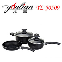 best selling hot sale cookware 5pcs aluminum ceramic marbled coating nonstick cookware set