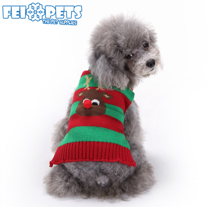 Hot Selling Large Big Dog Sweaters New Year Knit Pet Christmas Red Green Clothes