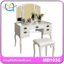French style royal soild wood bedroom furniture white antique vanity dresser