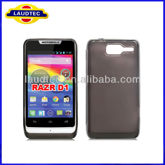 For Motorola Razr D1, Plain TPU gel case for Motorola Razr D1+Free Screen Protector