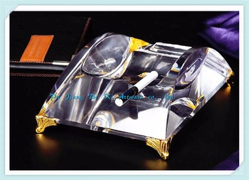 Luxuries Cigar Crystal Ashtray With Golden Foot,Hand Made Deluxe Glass Ashtray