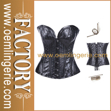 Wholesale Hot Sale Tie Back Black Leather Women Sexy Western Style Corset