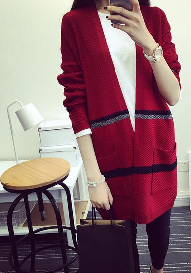 Spring and autumn long sleeved cardigan girls long sweater sweater Korean loose thin back collar jacket V women knitwear coat