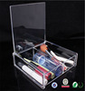 Handmade clear acrylic makeup storage box with hinged lids