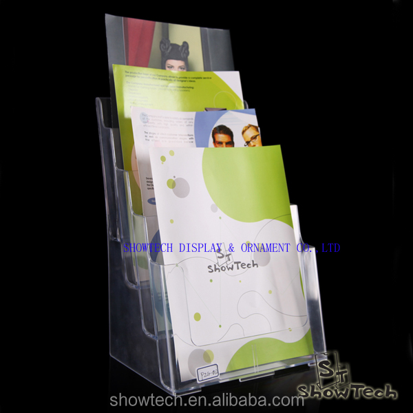 hot sale counter top or wall mounted clear plastic advertising A4 paper display stand for 4 layers