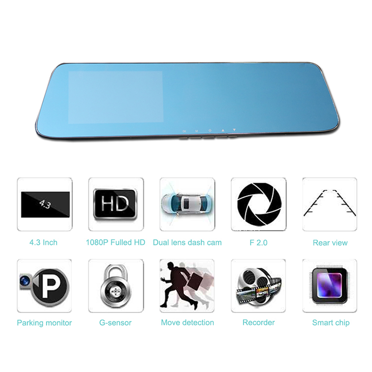 NEMSTAR 4.3 inch Touch Screen Car DVR Dashcam  Full HD rearview mirror carcamera with multi language