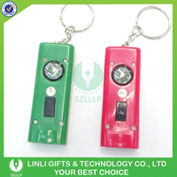Plastic compass 2 led cheap light keychain