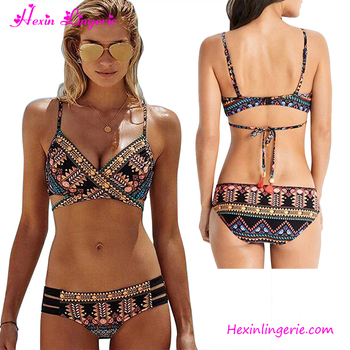 Factory private label sexy women two pieces printd swimwear bikini thong