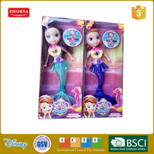 Zhorya Little Mermaid Dolls with Music and Light for Girl Super Beautiful Little Mermaid 2colors 11.5inch Baby Doll Wedding Doll