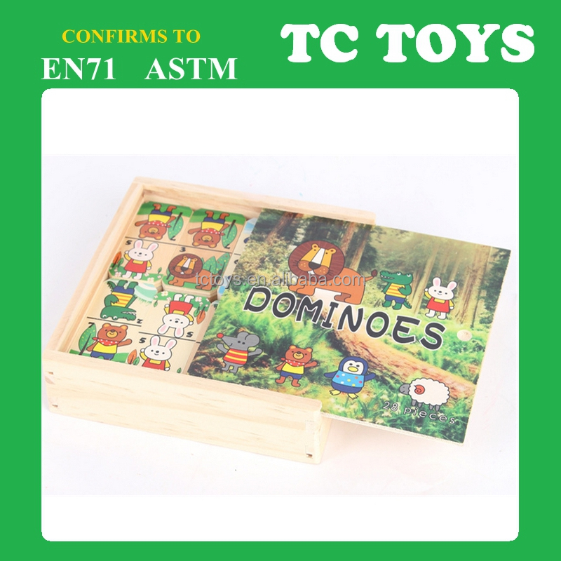 High quality wooden domino toy, animal domino set