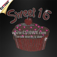 Sweet 16 Cupcake Rhinestone Transfer Hotfix Motif for Fashion Dress