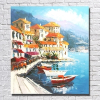 Hot Selling Mediterranean Sea Pictures Italian Coast Art Oil Painting On Metal Oil Painting on Cavans With Frame