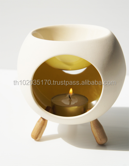 Round Ceramic Oil Burner with 3 Wooden Legs in yellow colors