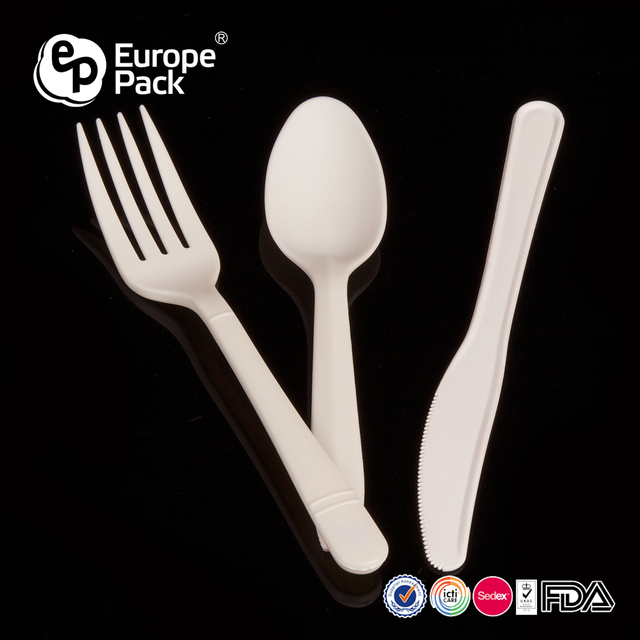Food grade eco-friendly cornstarch knife fork spoon biodegradable dinnerware set