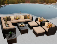 Villa hotel outdoor friends gathering sofa with ottoman footrest and metal top table well used patio furniture