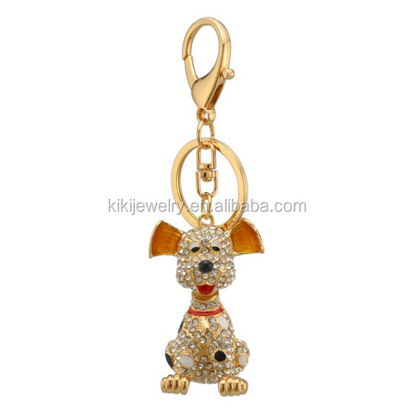 Custom Gold Plated Crystal Dog Live Animal Pendant Keychain