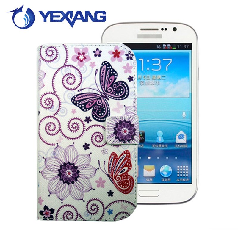flower butterfly flip case for samsung galaxy grand duos i9082 i908